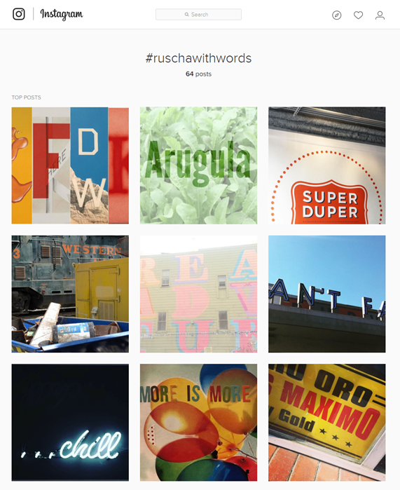 """A Ruscha With Worlds"" Instagram Posts"