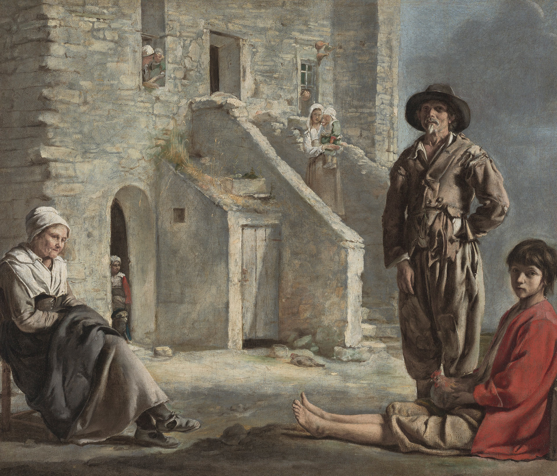 Louis Le Nain, Peasants before a House, ca. 1640