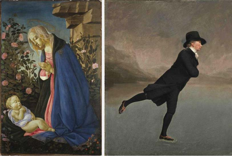 Botticelli painting of The Virgin Adoring the Sleeping Christ Child on left and painting on man skating by Henry Raeburn on right