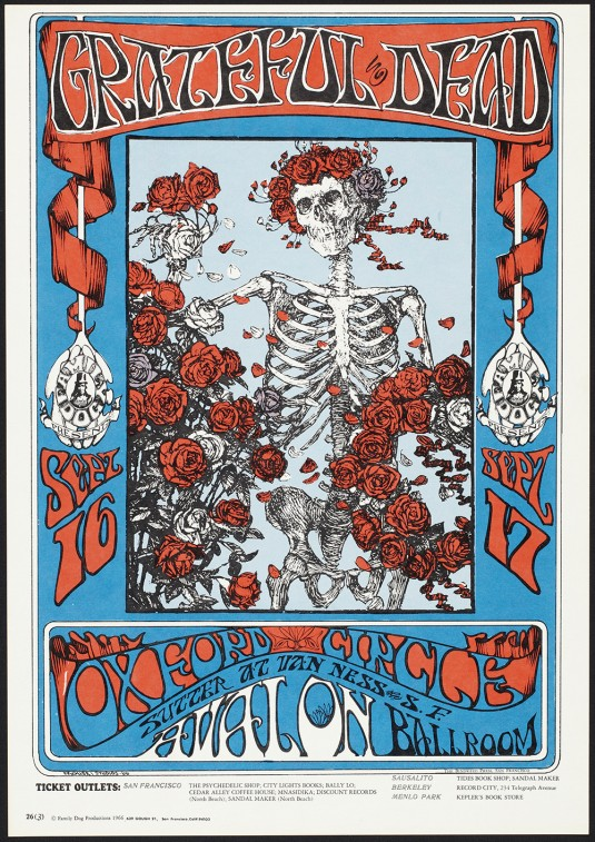 """Stanley Mouse and Alton Kelley, """"Skeleton and Roses,"""" Grateful Dead"""