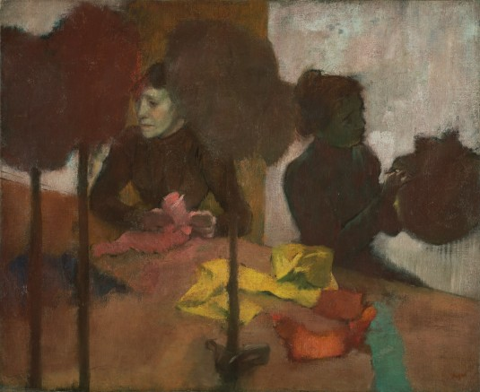 Edgar Degas, The Milliners, about 1882 - before 1905. Oil on canvas, 59.1 × 72.4 cm (23 1/4 × 28 1/2 in.). The J. Paul Getty Museum, Los Angeles