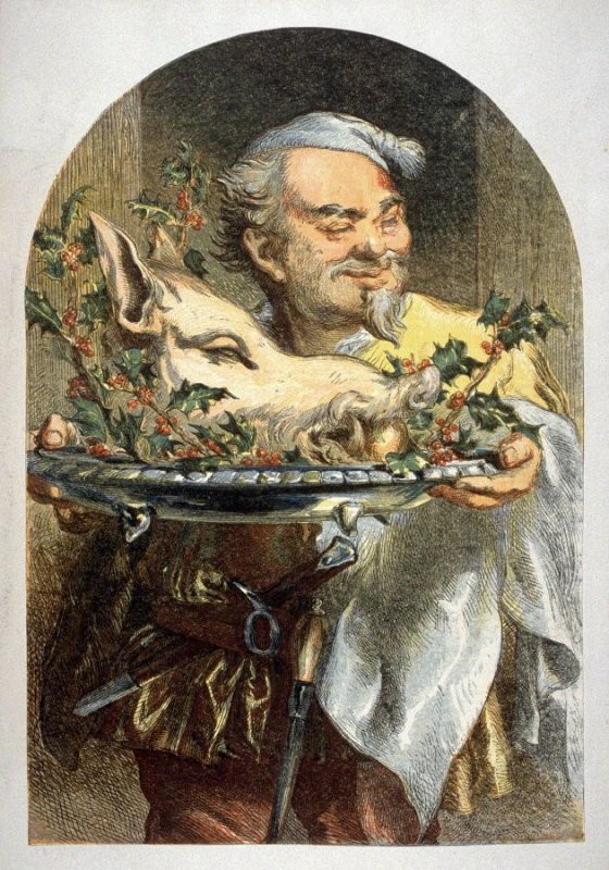 Anonymous, Man holding platter with Boar's head, apple and Holly. 30.8 x 21.4 cm (image); 35.2 x 27 cm (sheet). Achenbach Foundation for Graphic Arts.