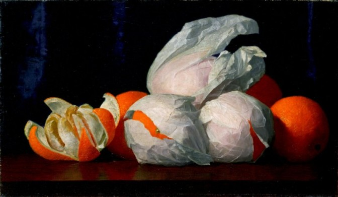 William Joseph McCloskey, Oranges in Tissue Paper, ca. 1980. Oil On Canvas,10 x 17 in. Gift of Mr. and Mrs. John D. Rockefeller 3rd.