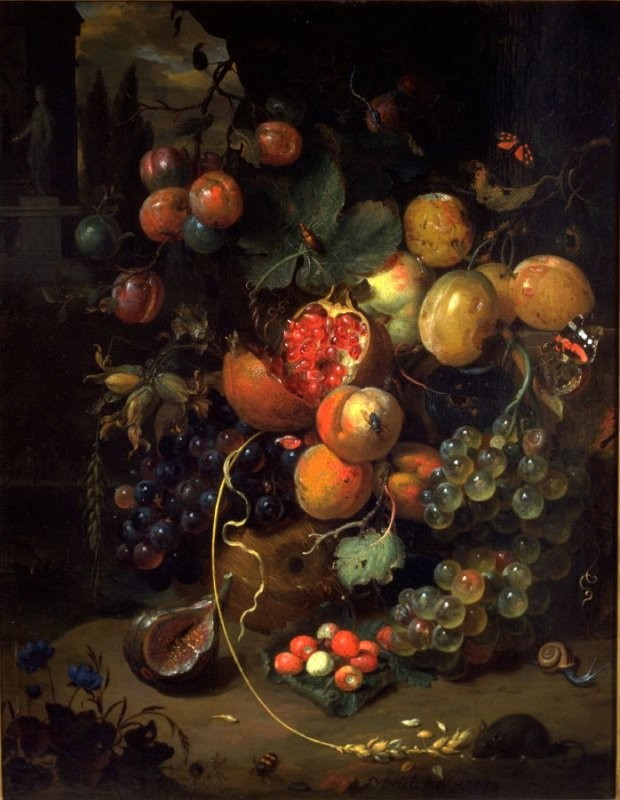 Jan Mortel, Still Life, 1714. Oil On Wood Panel, 22 1/2 x 17 3/8. Museum purchase, Mildred Anna Williams Collection.