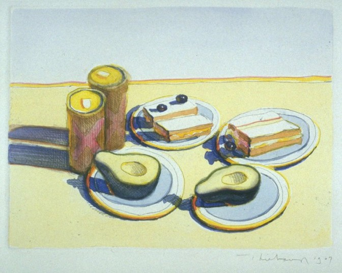 Wayne Thiebaud, Lunch, 1967. Etching With Watercolor Additions By The Artist, Image: 5 1/16 x 6 13/16 in. Museum purchase, Hamilton-Wells Fund.