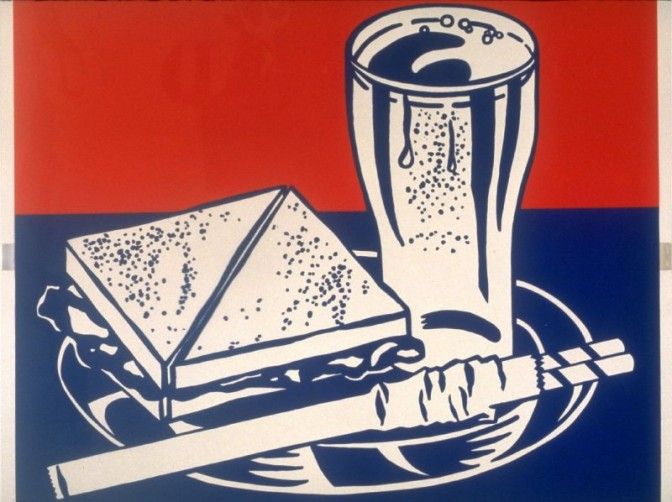 Roy Lichtenstein, Sandwich and Soda, from the X + X (Ten Works by Ten Painters) portfolio, 1964. Color Screenprint On Clear Plastic, Image: 19 1/16 x 23 1/16 in.; Sheet: 20 x 24 in. Museum purchase, Achenbach Foundation for Graphic Arts Endowment Fund.