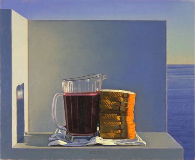 David Ligare, Still Life with Grape Juice and Sandwiches (Xenia), 1994. Oil On Canvas, 20 x 24 in. Gift of Barbara and William G. Hyland.