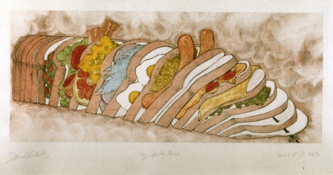 David Gilhooly, My Daily Bread, 1983. Color Monoprint, 61 x 108.6 cm. Anderson Graphic Arts Collection, gift of the Harry W. and Mary Margaret Anderson Charitable Foundation.