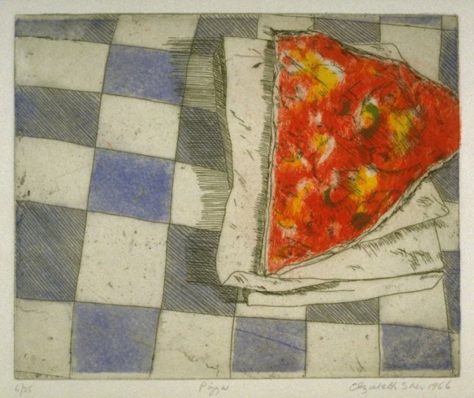 Elizabeth Sher, Pizza, 1966. Color Etching, 18.6 x 22.7 cm (image). Gift of the Artist.