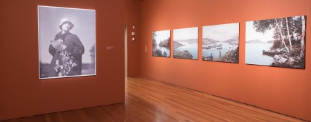 The first gallery in the exhibition, featuring black and white photographs of Georgia O'Keeffe and Lake George