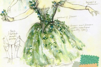 Design sketch for Titania fairy costume, The Dream, choreographed by Sir Frederi