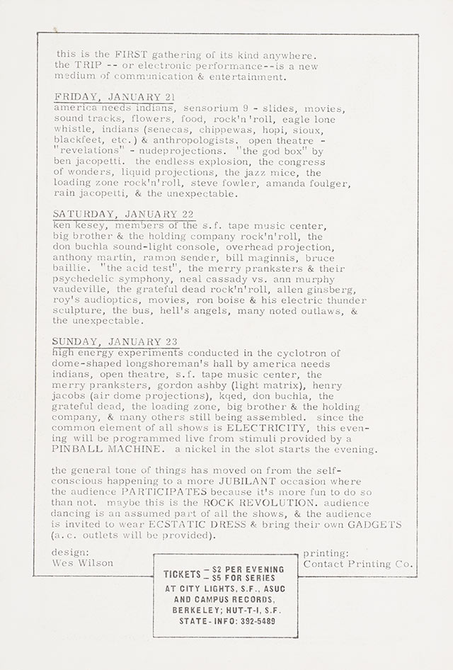 "Wes Wilson, ""Back of the program for 'Trips Festival', Ken Kesey, Merry Pranksters, Allen Ginsberg, Stewart Brand, Grateful Dead, Big Brother & the Holding Company, and many, many others, January 21–23, Longshoremen's Hall"", 1966"