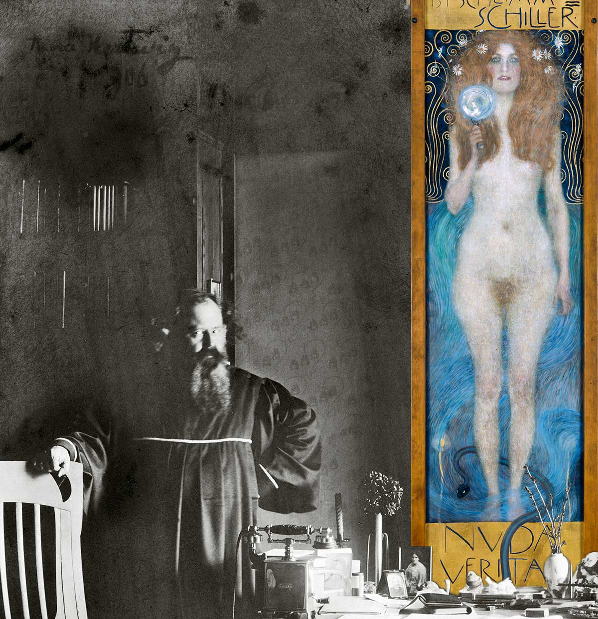 """Aura Hertwig, The writer Hermann Bahr, first owner of Klimt's """"Nuda Veritas"""", with this painting in his study, Vienna-Ober Sankt Veit (detail), ca. 1905"""