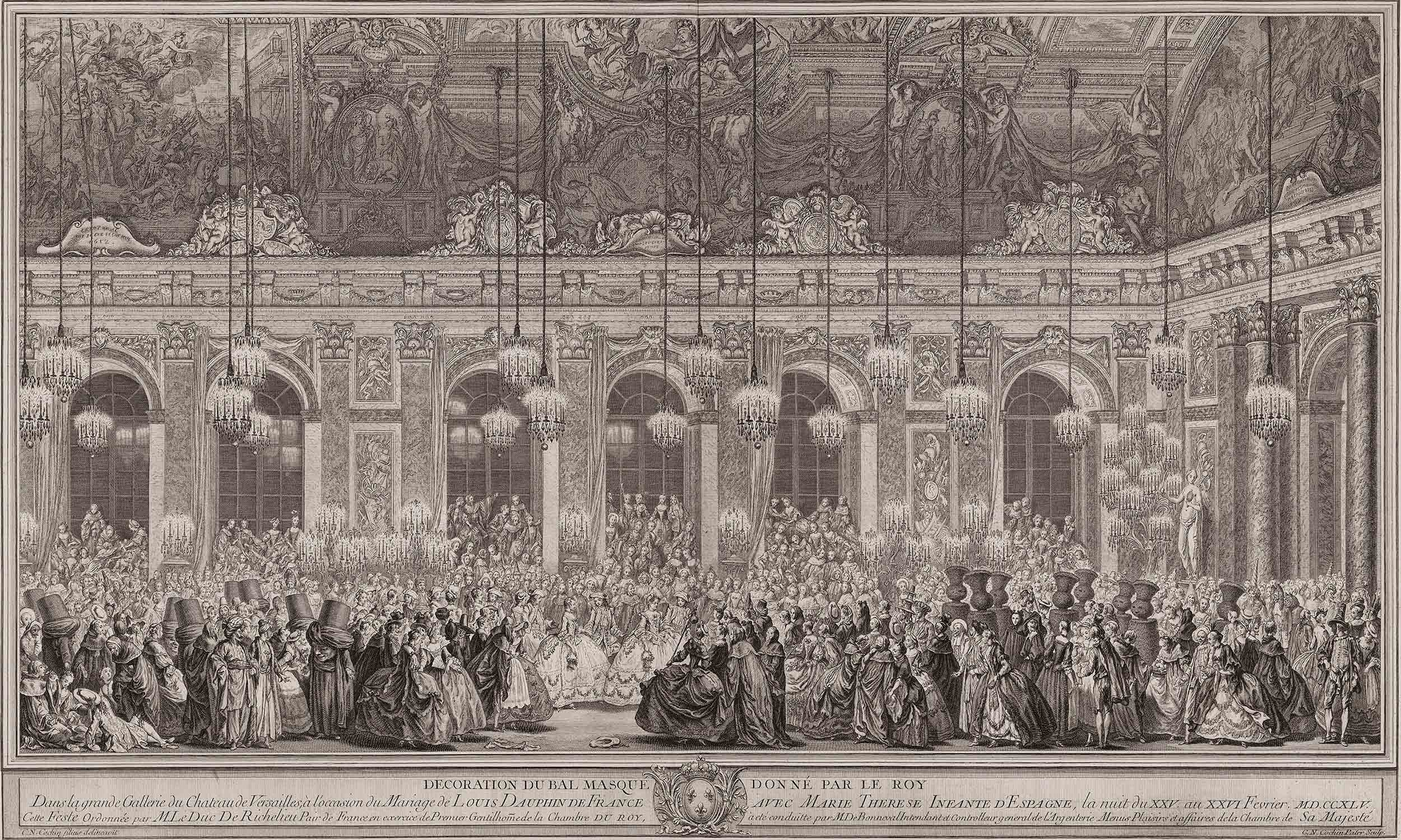 """Charles-Nicolas Cochin, after François-Nicolas Martinet, """"Decoration for a Masked Ball Given by the King"""", 1756"""