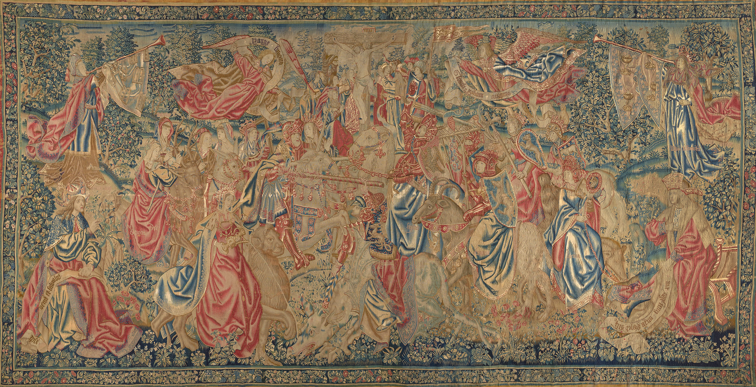 The Combat of the Virtues and the Vices from The Redemption of Man series, ca. 1535. Wool, silk; tapestry weave, 164 x 320 in. (416.6 x 812.8 cm). Fine Arts Museums of San Francisco, gift of The William Randolph Hearst Foundation, 54.14.1