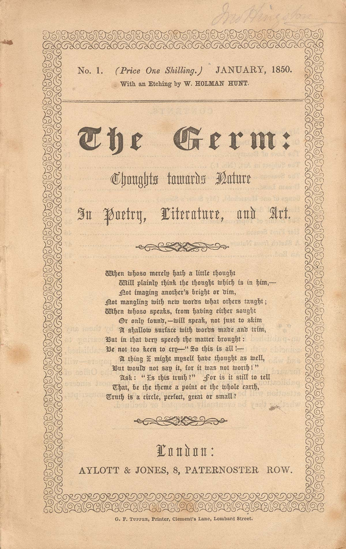 The Germ: Thoughts towards Nature in Poetry, Literature, and Art (January 1850). Letterpress, 8 3/4 x 5 3/8 in. (22.2 x 14 cm). Published by Aylott & Jones, London. Collection of Joseph and Deborah Goldyne