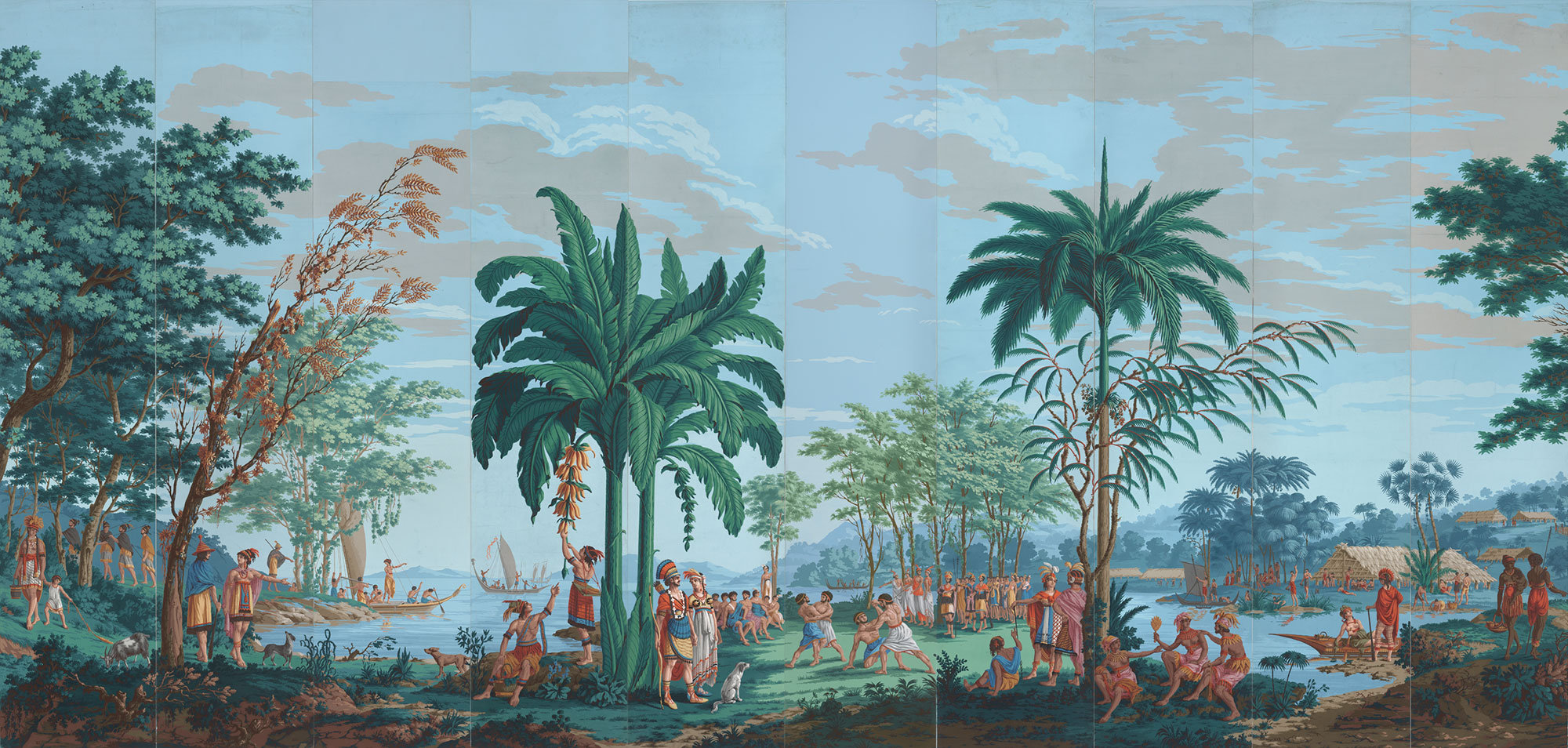 """Les Sauvages de la Mer Pacifique (Native Peoples of the Pacific Ocean)"" is believed to be one of the first panoramic wallpapers ever created—it inspired artist Lisa Reihana."