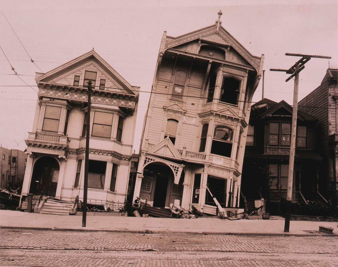 "Arnold Genthe, ""Untitled (Tilted wooden row houses after the earthquake)"", 1906. Cellulose nitrate negative 146 x 86 mm (5 3/4 x 3 3/8 in.) Fine Arts Museums of San Francisco, Museum purchase, James D. Phelan Bequest Fund 1943.407.13"