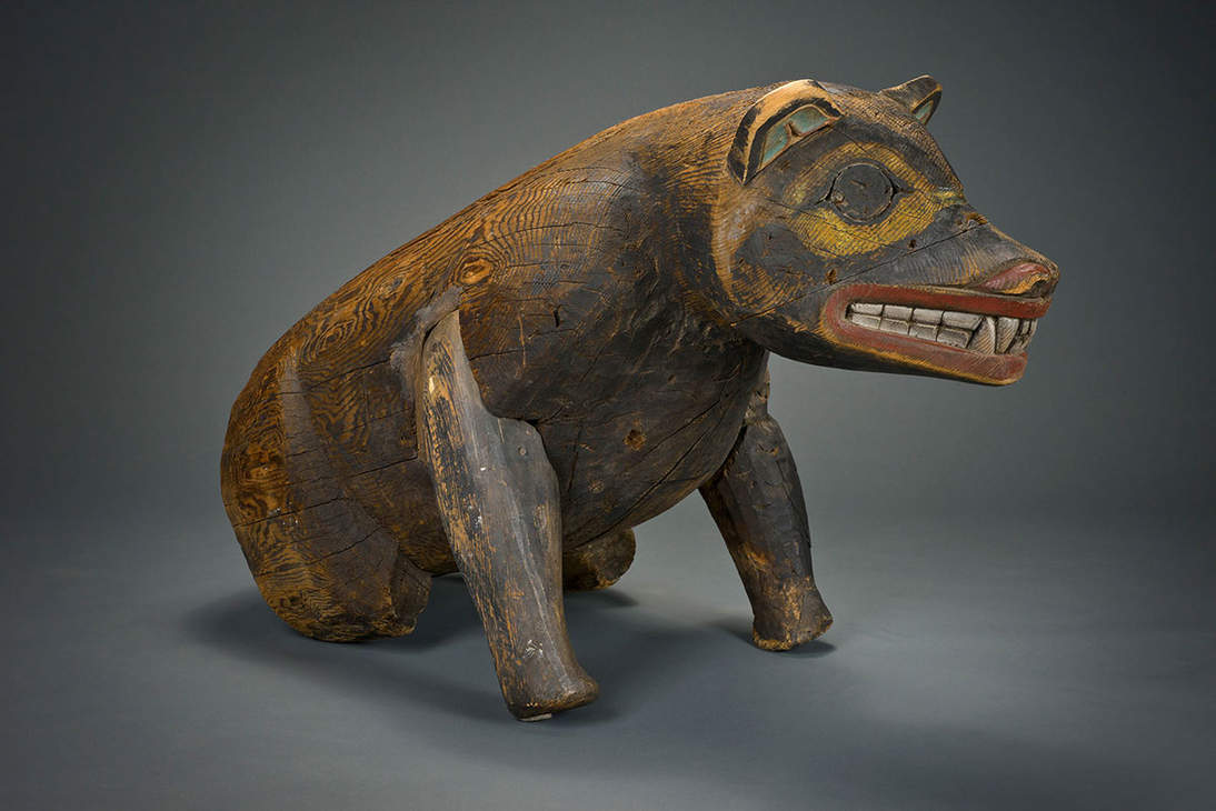 Haida artist, Bear effigy, ca. 1870. Canada, Haida Gwaii. Yellow cedar and pigment. Length: 44 1/2 in. (113 cm). Fine Arts Museums of San Francisco, Gift of the Thomas W. Weisel Family, 2013.76.126