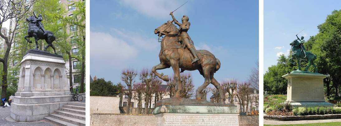 From left: New York City, Blois, and Québec City Joan of Arc sculptures
