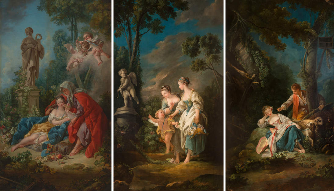 """""""Vertumnus and Pomona"""" with two of its associated paintings (the fourth painting's location is unknown): """"Evening"""" and """"Love's Offering,"""" both of Casa Labia, Muizenberg, South Africa. Photographs © Michael Hall Photography"""