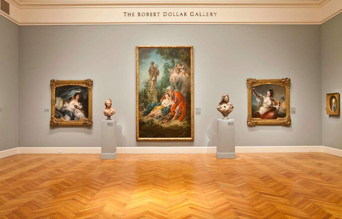 """Boucher's """"Vertimnus and Pomona"""" as previously installed at the Legion of Honor."""