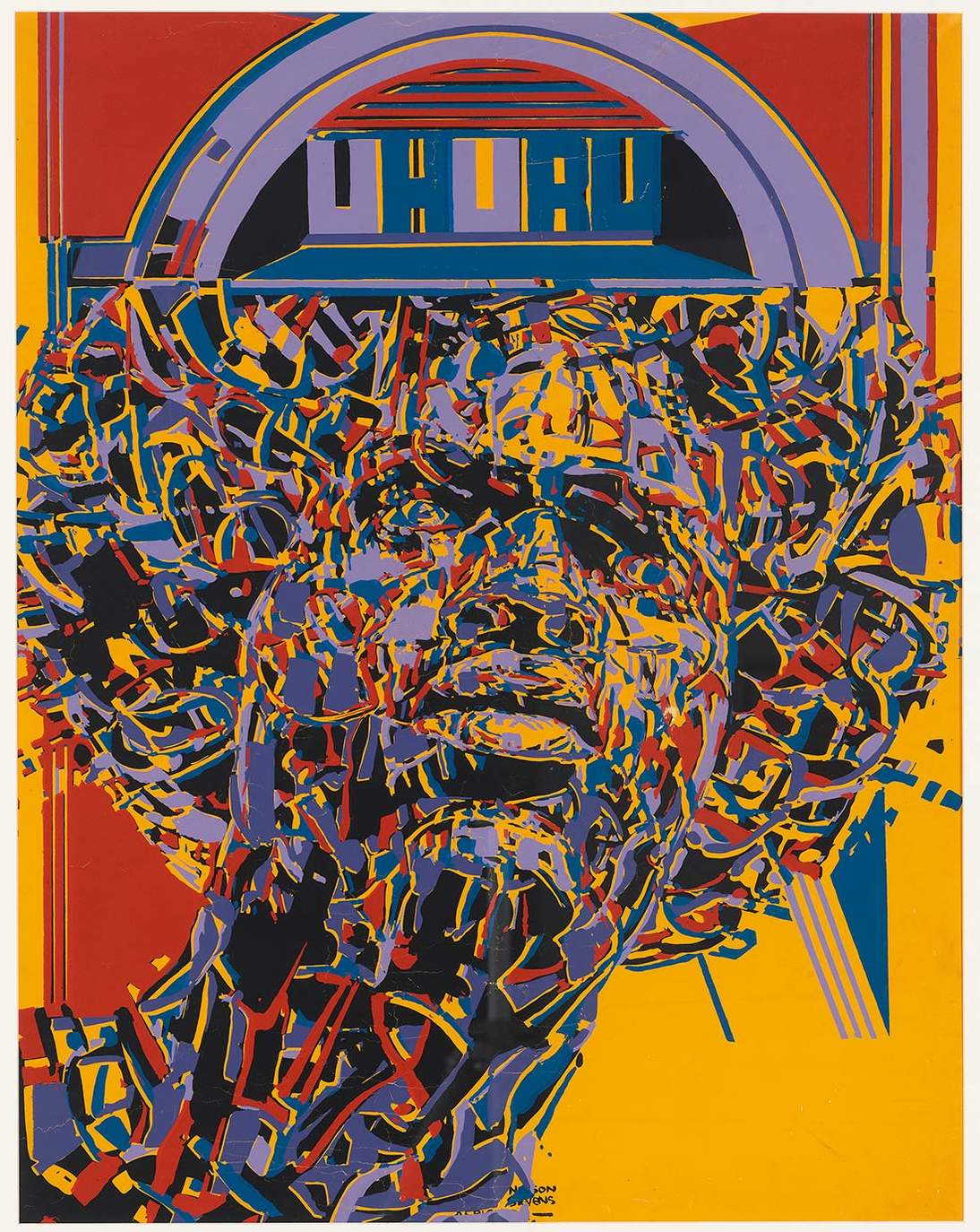 """Nelson Stevens, """"Uhuru,"""" 1971. Screenprint on paper. Tate, London, Purchased with assistance from the Ford Foundation 2018 © Nelson Stevens"""