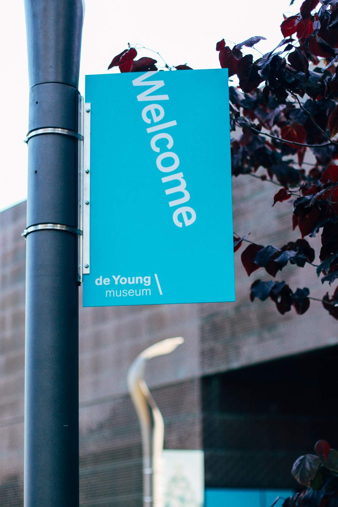 Refreshed welcome signage at the de Young museum