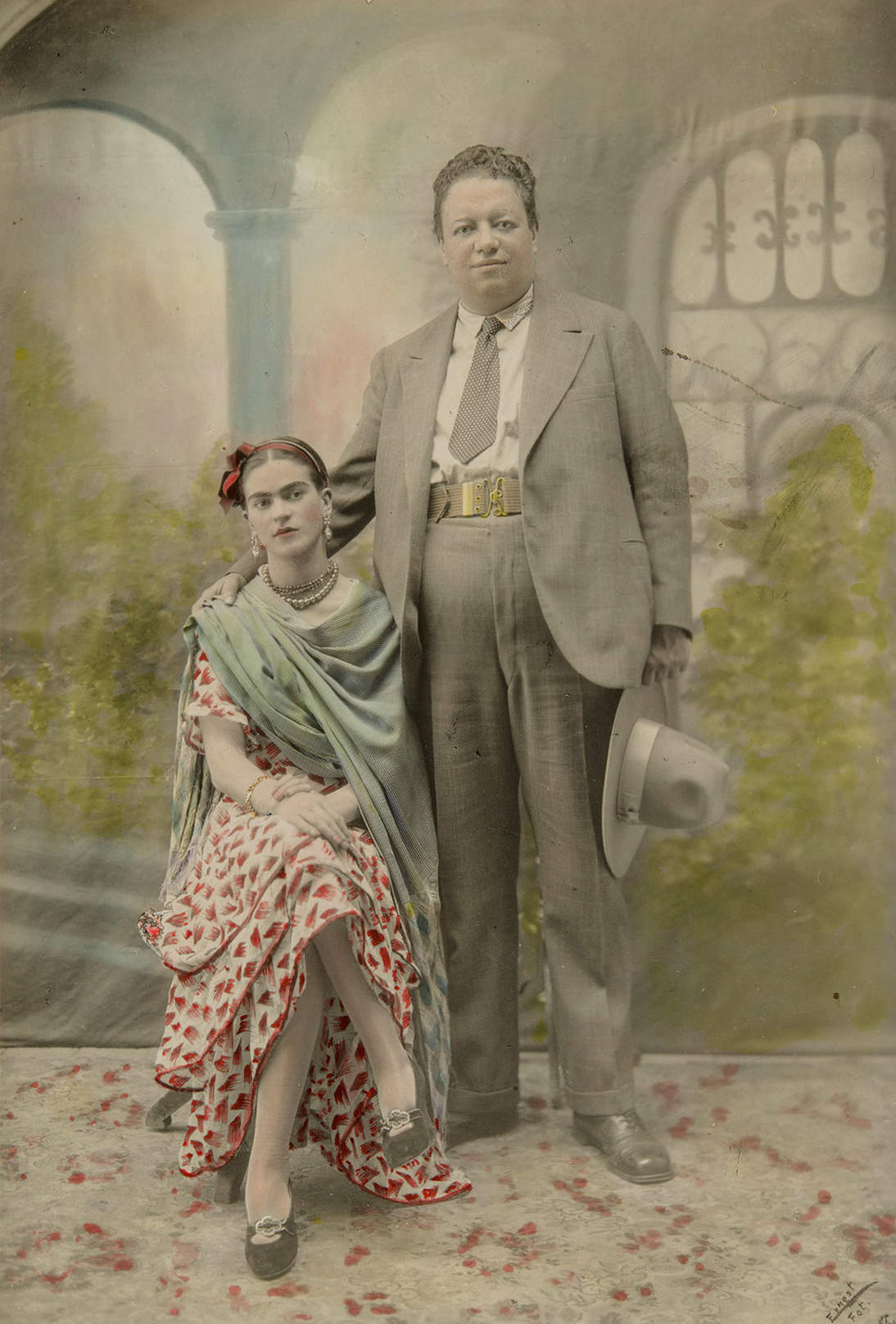 "Victor Reyes, ""Wedding portrait of Frida Kahlo and Diego Rivera,"" 1929. Photograph, gelatin silver print with hand-applied transparent watercolor, Sheet: 7 1/16 x 4 15/16 in. (18 x 12.6 cm). Museum of Fine Arts Boston, Anonymous gift, 2016.112 Photograph © 2020 Museum of Fine Arts, Boston"