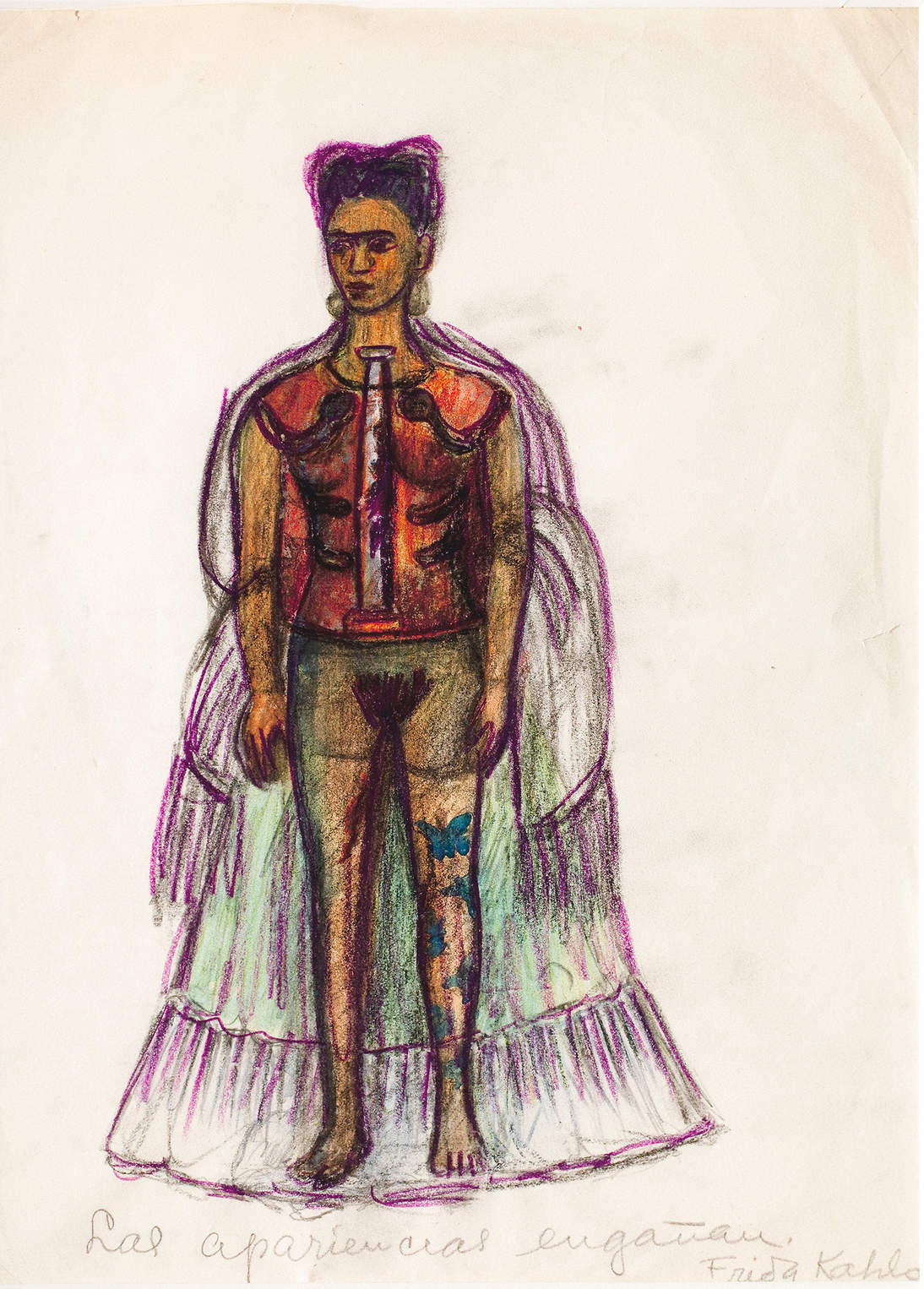 """Frida Kahlo, """"Appearances Can Be Deceiving,"""" No date. Charcoal and pencil on paper, 11.4 x 8.3 in.  (29 x 21 cm). Museo Frida Kahlo © 2020 Banco de México Diego Rivera & Frida Kahlo Museums Trust. Av. 5 de Mayo No. 2, Col. Centro, alc. Cuauhtémoc, C.P. 06000, Mexico City / Artists Rights Society (ARS), New York"""