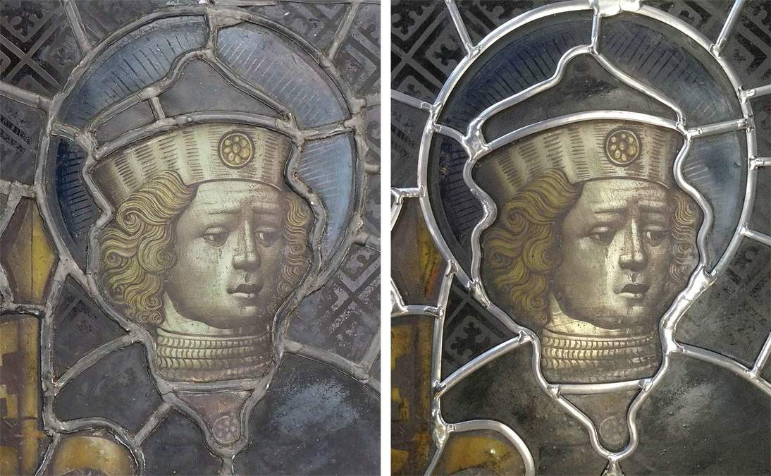 Detail of Saint Gereon panel before treatment (left) and after treatment (right).
