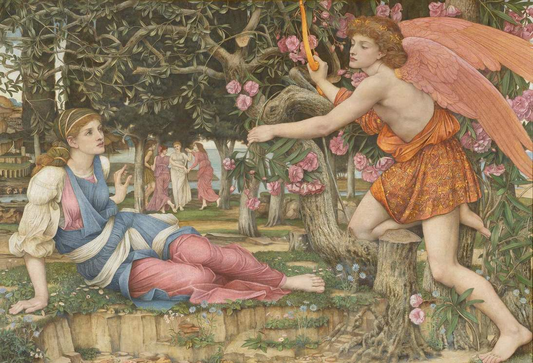 "John Roddam Spencer Stanhope, ""Love and the Maiden"", 1877. Oil, gold paint, and gold leaf on canvas, 54 x 79 in. (137.2 x 200.7 cm). Fine Arts Museums of San Francisco, Museum purchase, European Art Trust Fund, Grover A. Magnin Bequest Fund and Dorothy Spreckels Munn Bequest Fund (2002.176)"