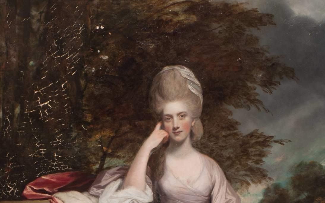 "Sir Joshua Reynolds, ""Anne, Viscountess Townshend, Later Marchioness Townshend"" (detail), 1779–1780. Oil on canvas, 95 x 58 in. (241.3 x 147.3 cm). Fine Arts Museums of San Francisco, Roscoe and Margaret Oakes Collection, 75.2.13. During conservation, the painting received treatment with varnish, and later retouching removed exposing cracks that occurred in the drying of the paint."