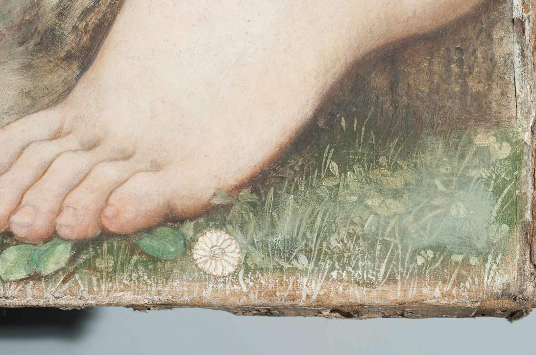 "Detail of ""Love and the Maiden"" showing white brushmarks of the textural underlayer and a round unpainted flower with the brown drawing still visible"