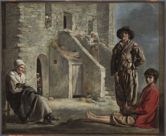 "Le Nain, ""Peasants before a House,"" ca. 1640"