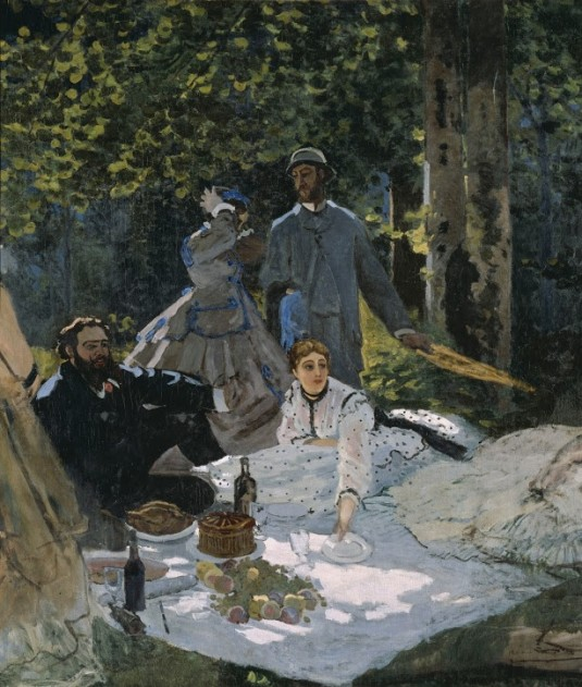 """Claude Monet, """"Luncheon on the Grass, Central Panel,"""" 1865–66."""