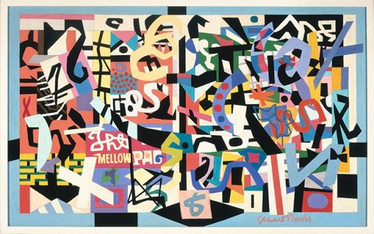 "Stuart Davis (1892–1964), ""The Mellow Pad,"" 1945–51; oil on canvas; 26¼ x 42 1/8 in. (66.7 x 107 cm); Brooklyn Museum; bequest of Edith and Milton Lowenthal 1992.11.6. © Estate of Stuart Davis / Licensed by VAGA, New York."
