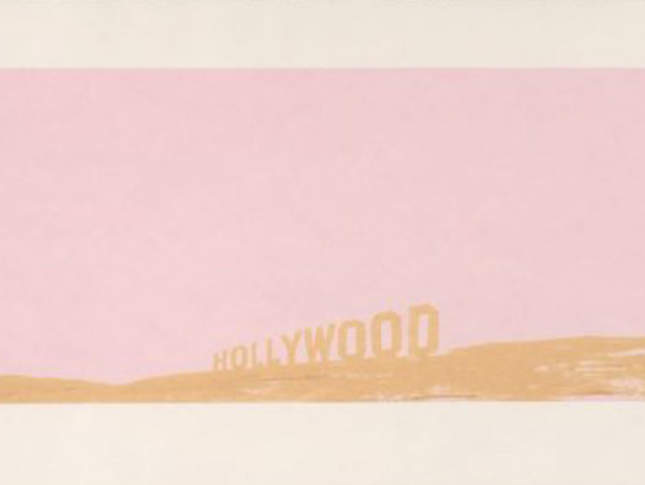 "Ed Ruscha, ""Pepto-Caviar Hollywood"",1970. Color screenprint, 15 x 42 1/2 in. Published by Cirrus Editions, Los Angeles. Fine Arts Museums of San Francisco, Museum purchase, Mrs. Paul L. Wattis Fund, 2000.131.37.1 © Ed Ruscha"
