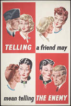 """Unidentified artist (British, active mid-twentieth century), """"Telling a Friend May Mean Telling the Enemy (Navy),"""" ca. 1940–1942"""