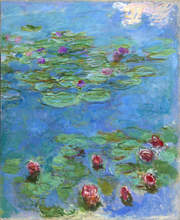"""Claude Monet, """"Water Lilies"""" (detail), 1914–1917. Oil on canvas, 71 x 57 1/2 in. (180 x 146 cm.). Fine Arts Museums of San Francisco, Museum purchase, Mildred Anna Williams Collection, 1973.3"""